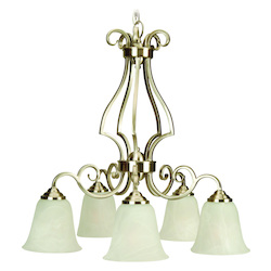 Craftmade Brushed Nickel Builders Single Tier 5 Light Mini Chandelier - 24 Inches Wide