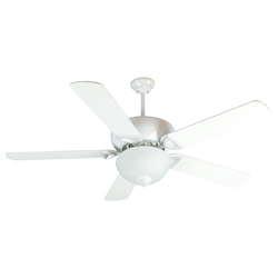 Craftmade White Leeward 52in. 5 Blade Indoor Ceiling Fan - Blades and Light Kit Included