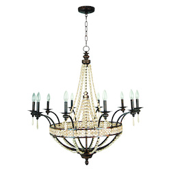 Craftmade Peruvian Bronze Cortana Single Tier 10 Light Crystal Chandelier - 38 Inches Wide