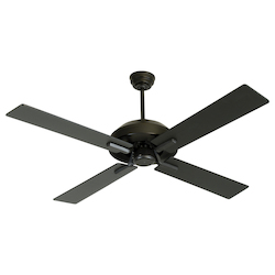Craftmade Flat Black 52in. 4 Blade Indoor Ceiling Fan - Blades and Light Kit Included