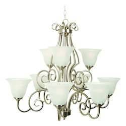 Craftmade Brushed Nickel Builders Two Tier 9 Light Linear Chandelier - 32 Inches Wide