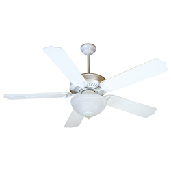 Craftmade White Porch Fan 52in. 5 Blade Indoor Ceiling Fan - Blades and Light Kit Included