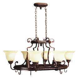 Craftmade Aged Bronze Riata 8 Light 1 Tier Chandelier