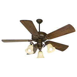 Craftmade Three Light Ag - Aged Bronze Antique Scavo Glass Ceiling Fan