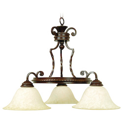 Craftmade Aged Bronze Riata Single Tier 3 Light Mini Chandelier - 28 Inches Wide