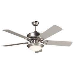 Craftmade Two Light Bn - Brushed Nickel Cased White Glass Ceiling Fan