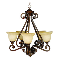Craftmade Peruvian Scroll Single Tier 5 Light Mini Chandelier - 27.5 Inches Wide