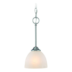 Craftmade One Light Satin Nickel Faux Alabaster Shade Down Mini Pendant