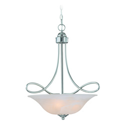 Craftmade Three Light Satin Nickel Faux Alabaster Shade Up Pendant