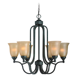Craftmade Six Light Oil Rubbed Bronze Tea Stained Glass Up Chandelier