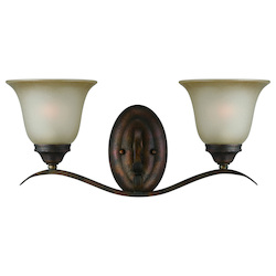 Craftmade Two Light Burleson Bronze Light Teastain Glass Vanity