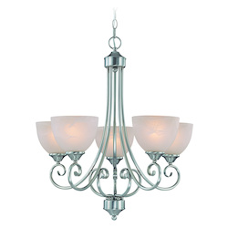 Craftmade Five Light Satin Nickel Faux Alabaster Shade Up Chandelier