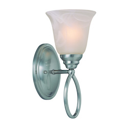 Craftmade One Light Satin Nickel Faux Alabaster Shade Bathroom Sconce