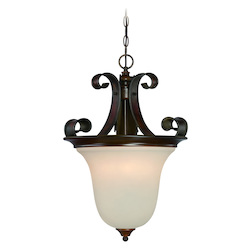 Craftmade Four Light Spanish Bronze Opal Glass Foyer Hall Pendant