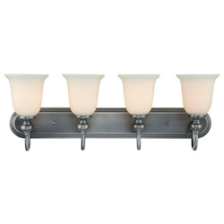 Craftmade Four Light Antique Nickel Creamy Frost Glass Vanity