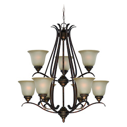 Craftmade Nine Light Burleson Bronze Light Teastain Glass Up Chandelier