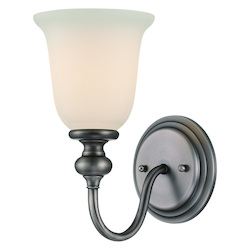 Craftmade One Light Antique Nickel Creamy Frost Glass Bathroom Sconce