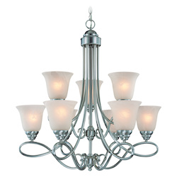 Craftmade Nine Light Satin Nickel Faux Alabaster Shade Up Chandelier