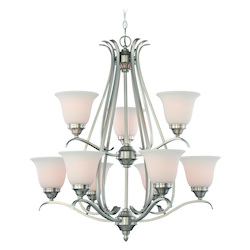 Craftmade Nine Light Brushed Nickel Frost White Glass Up Chandelier
