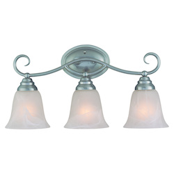 Craftmade Three Light Satin Nickel Faux Alabaster Shade Vanity