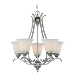 Craftmade Five Light Brushed Nickel Frost White Glass Up Chandelier