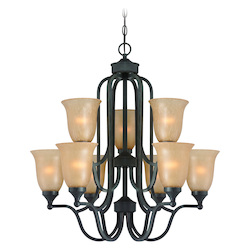 Craftmade Nine Light Oil Rubbed Bronze Tea Stained Glass Up Chandelier