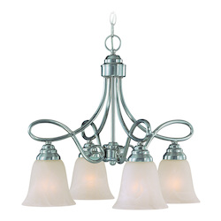 Craftmade Four Light Satin Nickel Faux Alabaster Shade Down Chandelier