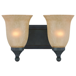 Craftmade Two Light Oil Rubbed Bronze Tea Stained Glass Vanity