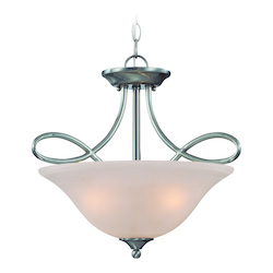 Craftmade Three Light Satin Nickel Faux Alabaster Shade Bowl Semi-Flush Mount