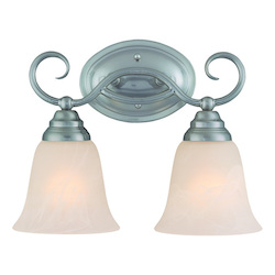 Craftmade Two Light Satin Nickel Faux Alabaster Shade Vanity