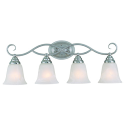 Craftmade Four Light Satin Nickel Faux Alabaster Shade Vanity