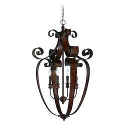 Craftmade Four Light Spanish Bronze Open Frame Foyer Hall Fixture