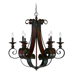 Craftmade Six Light Spanish Bronze Up Chandelier