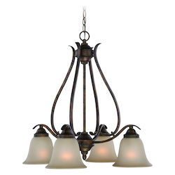 Craftmade Four Light Burleson Bronze Light Teastain Glass Down Chandelier