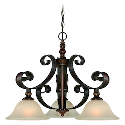 Craftmade Three Light Spanish Bronze Opal Glass Down Chandelier