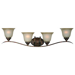 Craftmade Four Light Burleson Bronze Light Teastain Glass Vanity