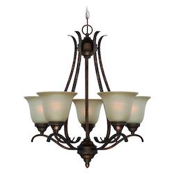 Craftmade Five Light Burleson Bronze Light Teastain Glass Up Chandelier