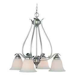 Craftmade Four Light Brushed Nickel Frost White Glass Down Chandelier