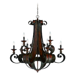 Craftmade Nine Light Spanish Bronze Up Chandelier