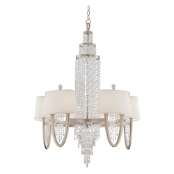 Corbett Antique Silver Leaf Ten Light Mid-Sized Chandelier From The Viceroy Collection
