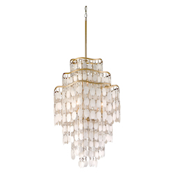 Corbett Seven Light Champagne Leaf Down Chandelier