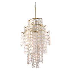 Corbett Nineteen Light Champagne Leaf Down Chandelier