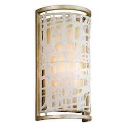 Corbett One Light Silver Leaf Wall Light