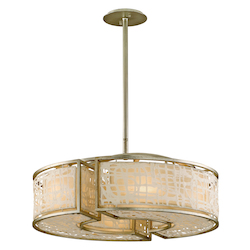 Corbett Six Light Silver Leaf Drum Shade Pendant