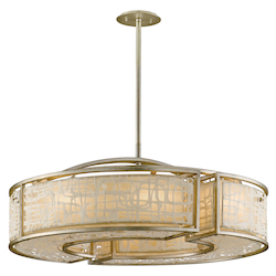 Corbett Eight Light Silver Leaf Drum Shade Pendant