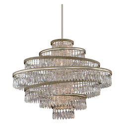 Corbett Five Light Silver Leaf W/Gold Leaf Accents Down Chandelier