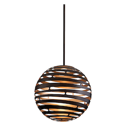 Corbett Textured Bronze Tango 1 Light LED Globe Pendant with Hand Crafted Iron Frame