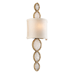 Corbett Brazilian Silver Leaf Fame & Fortune 1 Light Brazilian Rock Crystal Wall Sconce