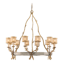 Corbett Twelve Light Gold And Silver Leaf Up Chandelier