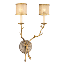 Corbett Gold / Silver Leaf Finish Two Light Wall Sconce from the Parc Royale Collection